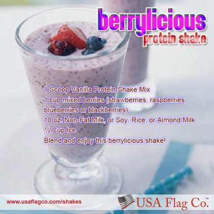 The Berrylicious Protein Shake Recipe from USA Flag Co. To eat is a necessity, but to eat intelligently is an art. Enjoy this berrylicious shake!