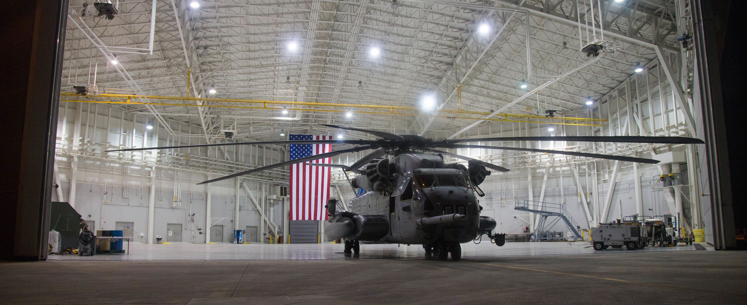 A CH-53E Super Stallion assigned to Marine Heavy Helicopter Squadron (HMH) 461 is staged in a hanger during Raven 17-06 in Gulfport, Mississippi.