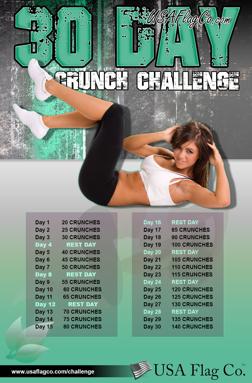 30 Day Crunch Challenge by USA Flag Co.