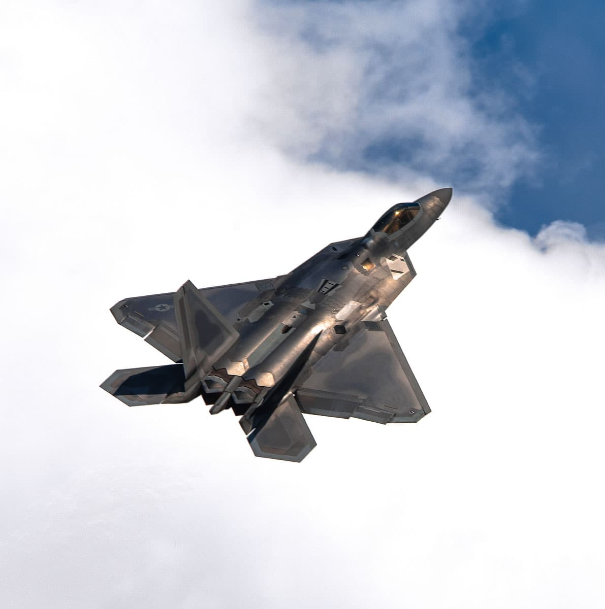 U.S. Air Force F-22 Demonstration Team flies over Joint Base Andrews, Md., during the 2017 Andrews Air Show: Air and Space Expo.