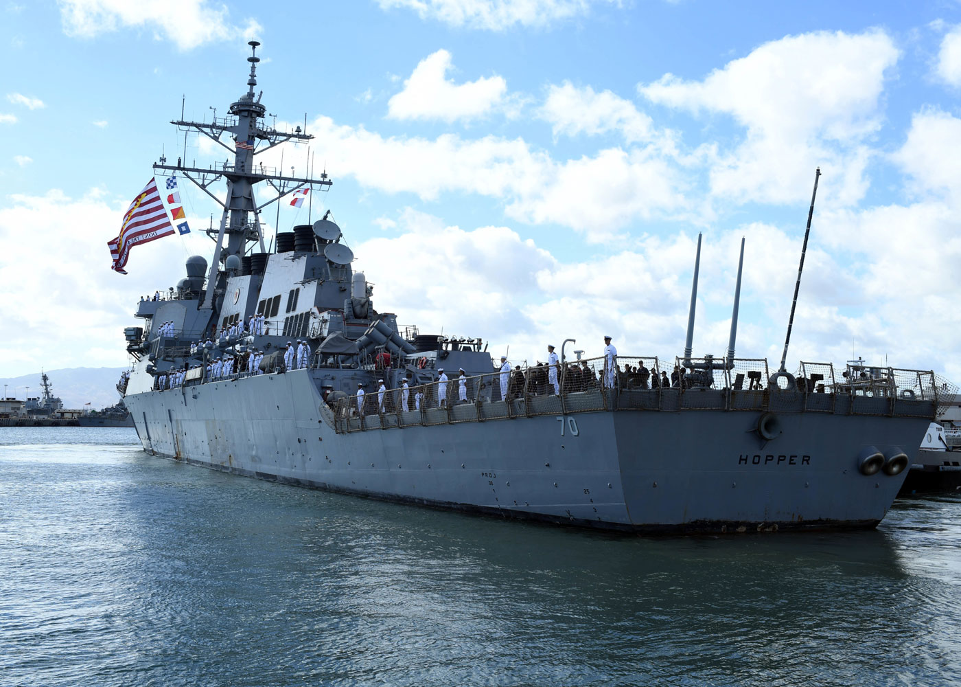 USS Hopper has a crew of nearly 330 officers and enlisted Sailors and is a multi-mission ship designed to operate independently or with an associated strike group.