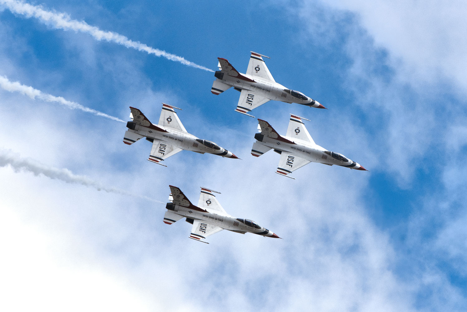 U.S. Air Force Thunderbirds perform an aerial demonstration over Joint Base Andrews, Md., during the 2017 Andrews Air Show.