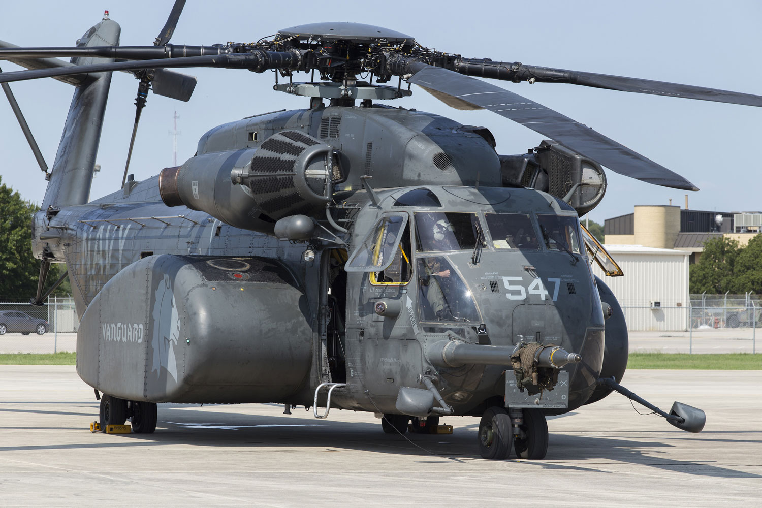 United States Navy MH-53E Sea Dragon pilots with Helicopter Mine Countermeasures Squadron 14 perform pre-flight checks prior Aug. 31, 2017, at Joint Base San Antonio-Lackland, Texas, for Hurricane Harvey relief missions.
