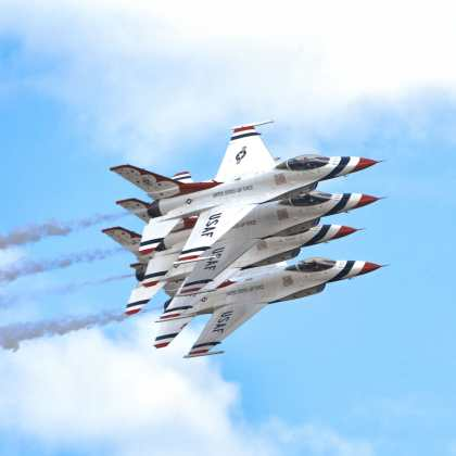 U.S. Air Force Thunderbirds perform an aerial demonstration over Joint Base Andrews, MD, during the 2017 Andrews Air Show: Air and Space Expo. For 62 years, the Thunderbirds have represented the epitome of Air Force precision and dedication.