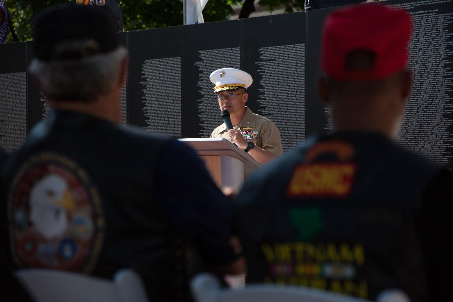 Brigadier General William H. Seely III, Director of the office of Marine Corps communication, speaks at a Vietnam veterans pinning ceremony as part of Marine Week Detroit.