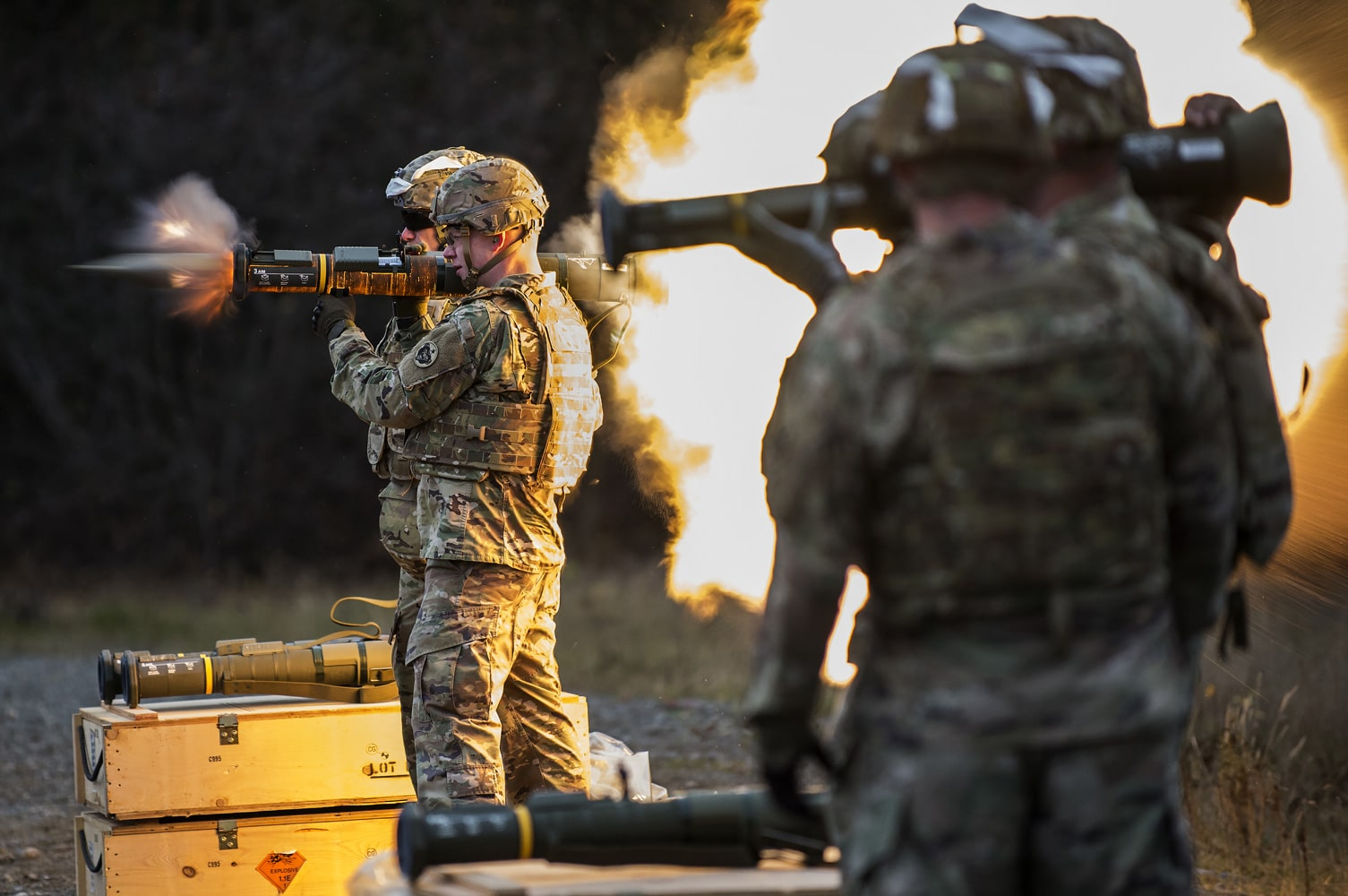 United States Army 1st Lt. Gerard Holodak, assigned to the 109th Transportation Company, 17th Combat Sustainment Support Battalion, U.S. Army Alaska, fires the M136E1 AT4-CS confined space light anti-armor weapon at Joint Base Elmendorf-Richardson, Alaska.