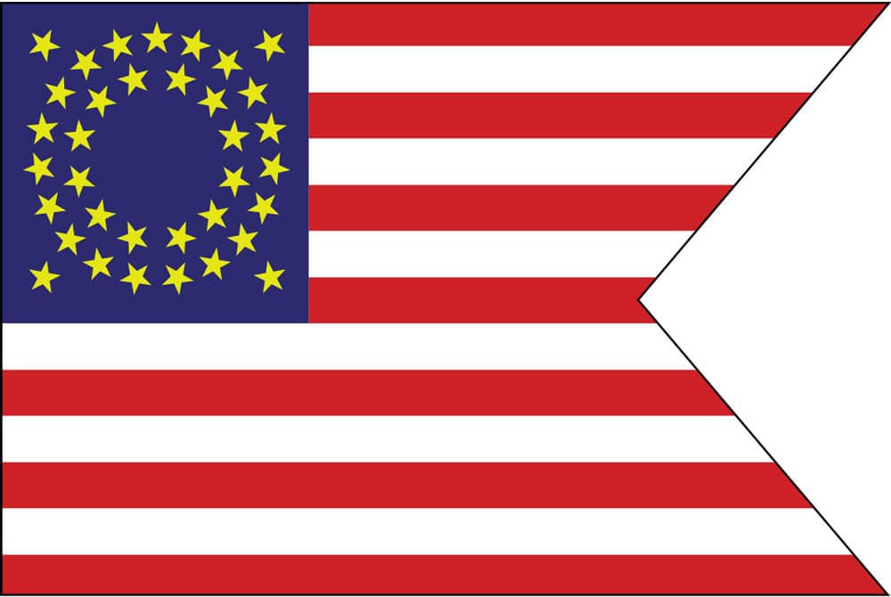 During the Civil War a special version of the United States called the Cavalry Guidon flag-with swallowtail and stars of gold instead of white—was carried by the cavalry.