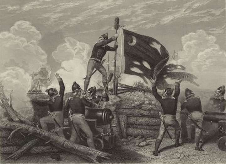 The Moultrie flag being raised over Fort Moultrie, after its successful defense against the British.