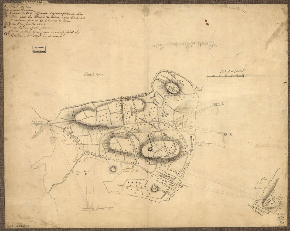 """Battle of Bunker Hill, Boston, Massachusetts, 1775--Maps--Early works to 1800. Includes """"References"""" to points of military interest in different hand and ink."""