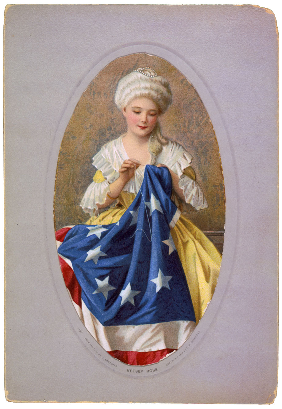 General of the Continental Army, George Washington appeared on Mrs. Betsy Ross's doorstep around the first of June, 1776, with two representatives of Congress, Colonel Ross and Robert Morris. They asked that she make a flag according to a rough drawing they carried with them.
