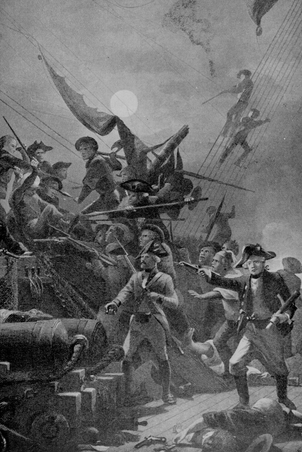 Captain John Paul Jones capturing the British frigate ship Serapis when his own ship was too damaged from battle.