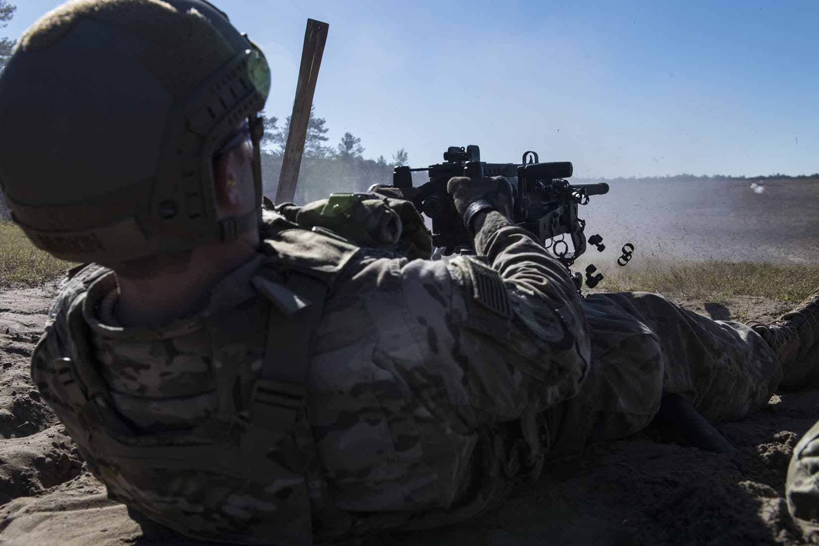 Staff Sgt. Richard Murkin, 823d Base Defense Squadron fireteam member, fires a .50 Caliber M2 machine gun, during a heavy weapons qualification at Camp Blanding Joint Training Center, Florida.