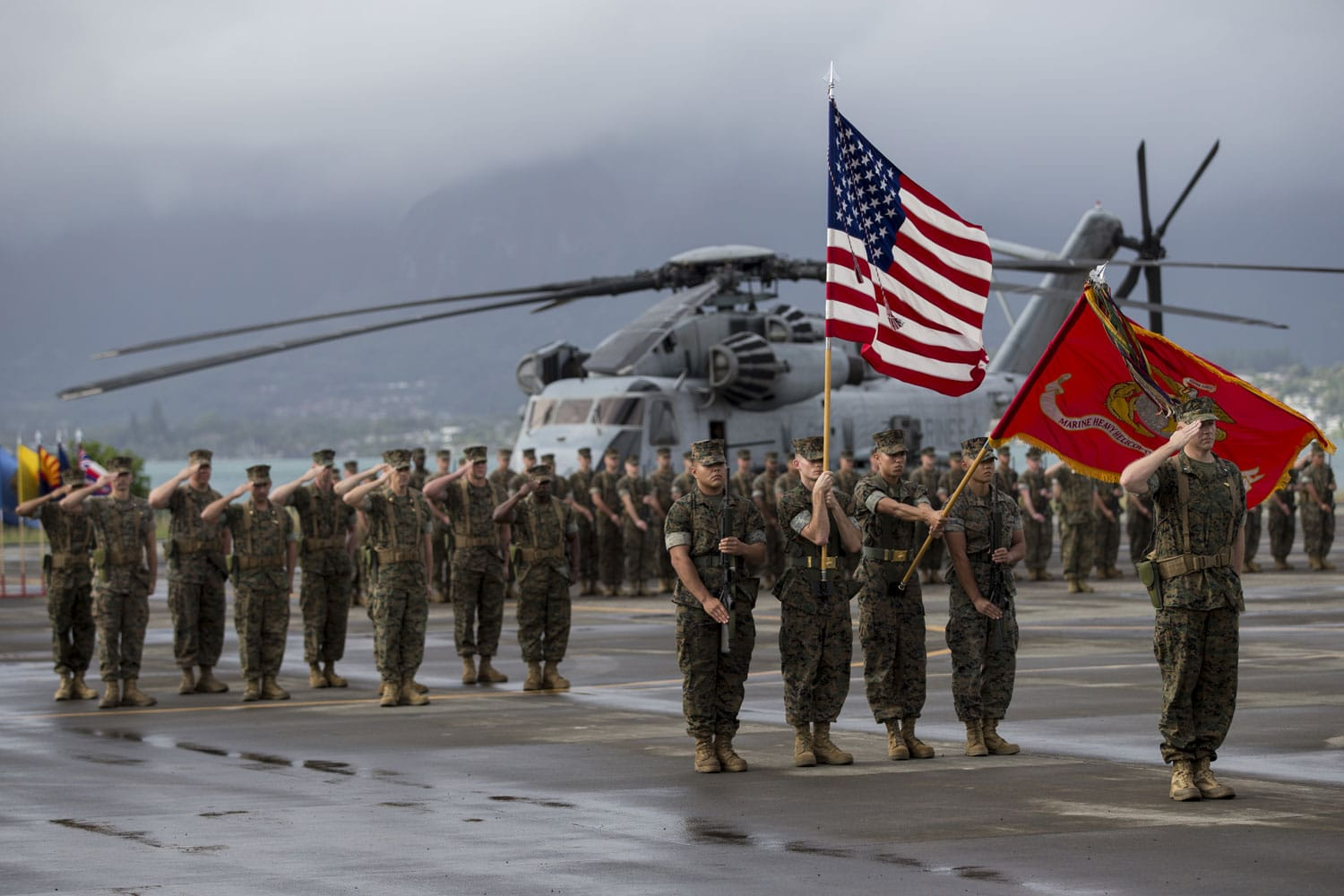 United States Marines Lt. Col. Eric D. Purcell relinquished command of the squadron to Lt. Col. Kevin G. Hunter during the ceremony.