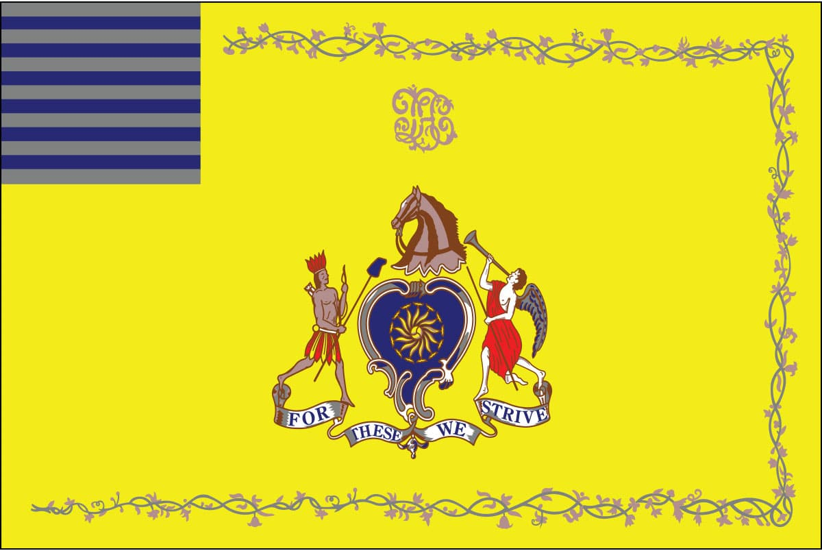"Philadelphia Light Horse Flag: It's motto; ""For These We Strive"""