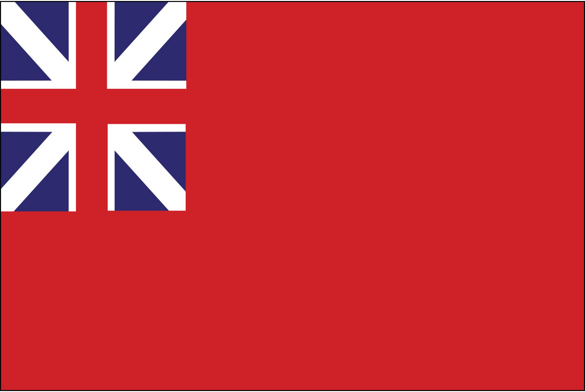 """Red Ensign Flag (1707–1801) commonly know as the """"Meteor Flag""""."""