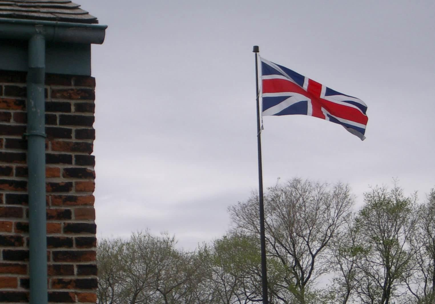 Pre-1801 Union Flag flies at Fort York, a former British Army base in Toronto.