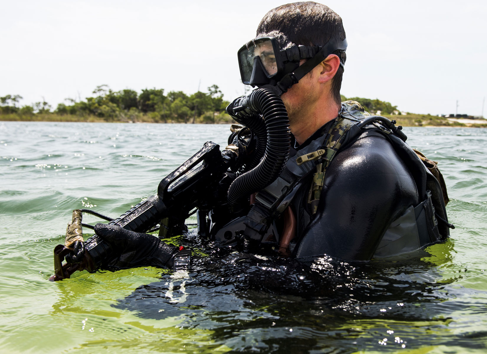 U.S. Navy Sea, Air, and Land Team Members conduct proof of concept and operational testing and evaluation of tactics, techniques and procedures development during exercise TRIDENT 17 on Hurlburt Field, Florida.