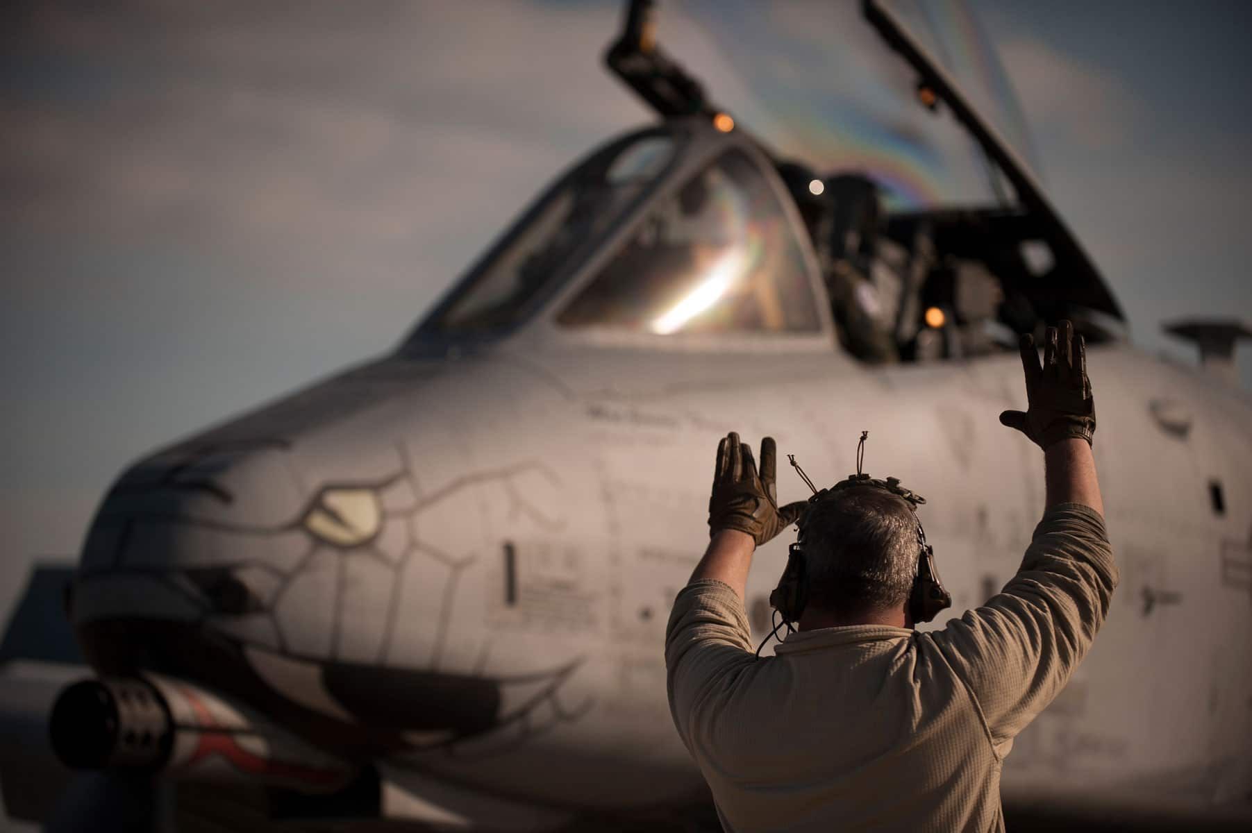 Staff Sgt. Will Lowe, 122nd Aircraft Maintenance Crew Chief, 122nd Fighter Wing, Fort Wayne, Indiana, marshals an A10C Warthog Blacksnakes aircraft after a successful mission during Operation Guardian Blitz.