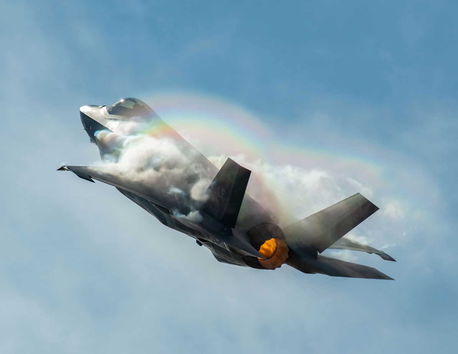 """Capt. Andrew """"Dojo"""" Olson, F-35 Heritage Flight Team pilot and commander performs a vertical climb in an F-35A Lightning II during the Bell Fort Worth Alliance Air Show in Fort Worth, Texas. The F-35A Lightning II's F-135 single-engine contains 43,000 pounds of thrust."""