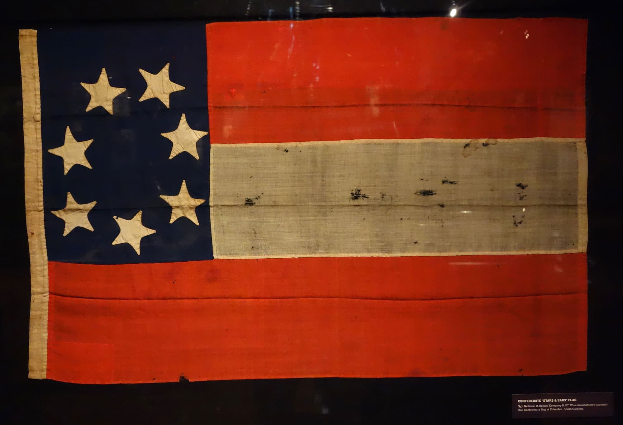 A Confederate Stars and Bars flag, captured by soldiers of the Union Army at Columbia, South Carolina.