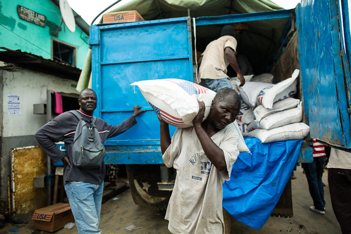 The U.N. World Food Program distributes USAID-donated rice in West Point