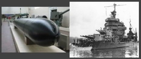 "Type 93 ""Long Lance"" (left) and damage to USS Minneapolis (CA-36) from Type 93 hit at Tassafaronga (right)"
