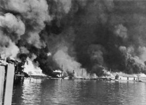Shore installations at Cavite burning after Japanese attack