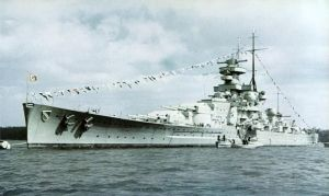 Scharnhorst in 1939, as completed with straight stem