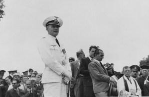 Captain Langsdorff attends Crew Funeral