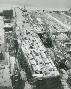 Enterprise under construction in Newport News Shipbuilding and Drydock Company, 1960