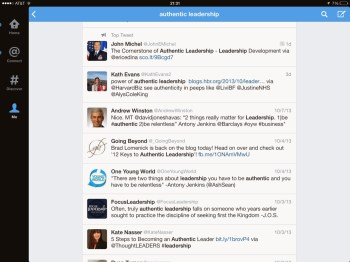 Search for #Leadership on Twitter for iPad