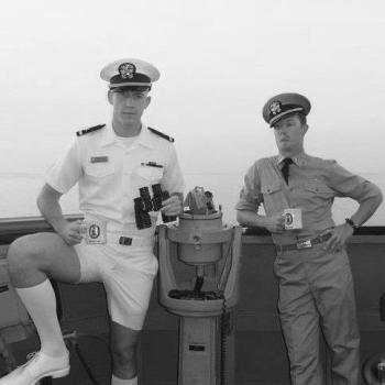 LT Alex Smith and LT Rob Kelly aboard USS Milius in 2010.