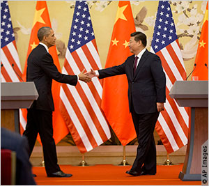 President Obama and President Xi Jinping of China shake hands after their joint news conference at the Great Hall of the People in Beijing November 12, 2014.