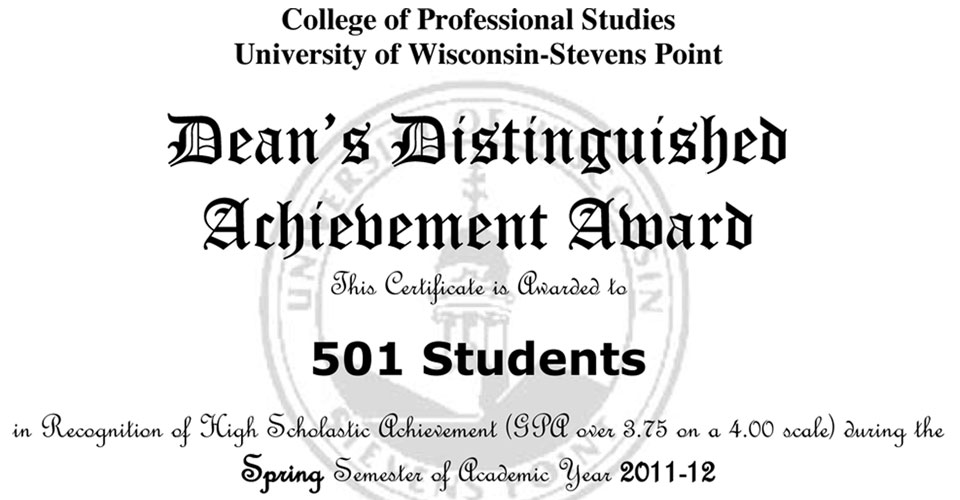 501 students named to CPS Dean's List « College of