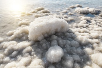 Salt crystals on the shores of the dead sea Israel