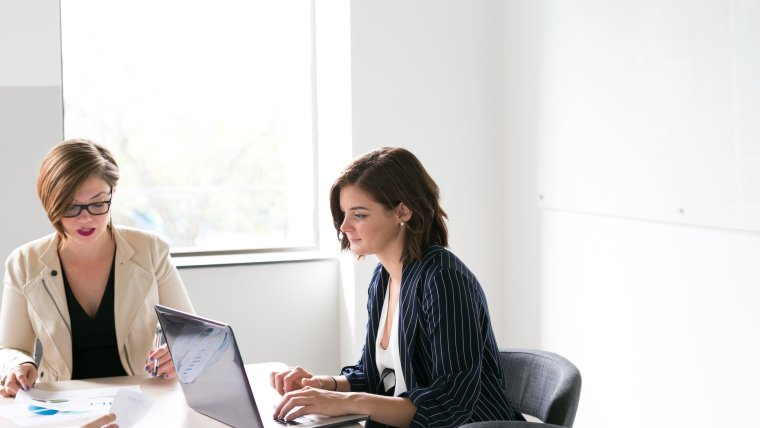 Two women in a business meeting at the chamber of commerce