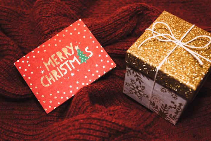 Merry Christmas card and gift