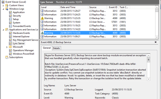 Skype for Business – [FIXED] [BUG] LS Backup Service Error