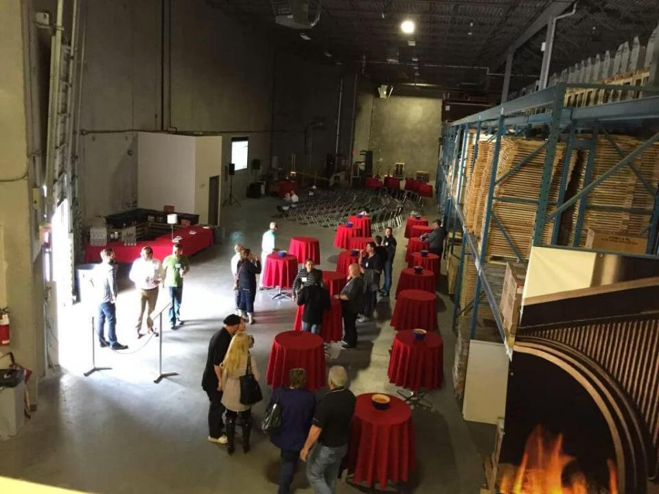 The dinner and presentation center in the warehouse starting to fill up