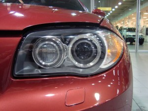 Vancouver-ClearBra-2009-BMW-135i-red-Xpel-Ultimate-Paint-Protection-Film-Brian-Jessel-BMW-finished-headlight