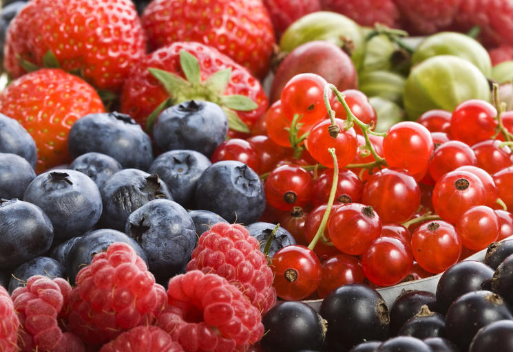 mixed soft fruit berries close-up