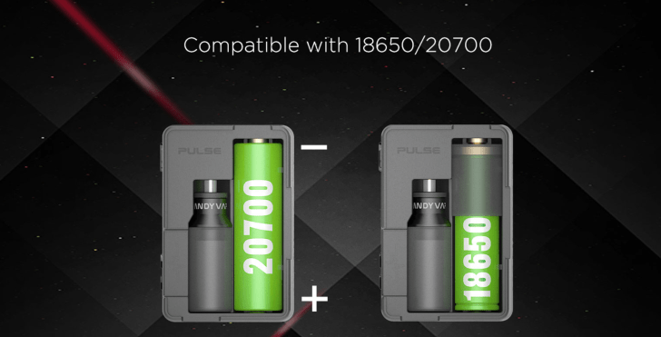 Pulse BF 80w box mod電池サイズ