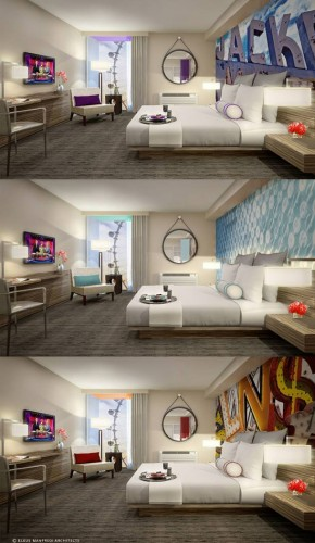 Renderings of the renovated rooms at The LINQ Hotel & Casino