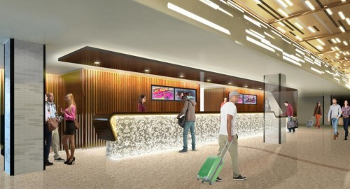 A rendering of the lobby experience at The LINQ Hotel & Casino