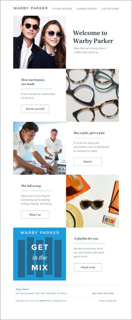 Welcome email template with product recommendations