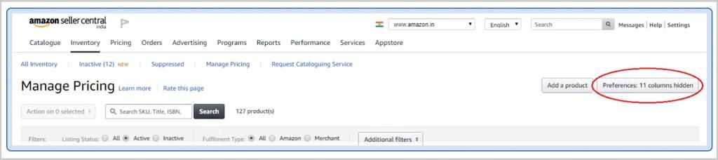 Amazon seller account - screenshot