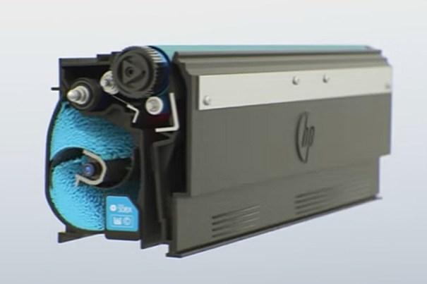 Imagen del interior de un tóner HP de color con tecnología JetIntelligence.