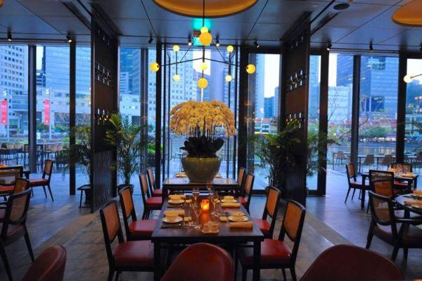 indoor restaurant with ceiling to floor window