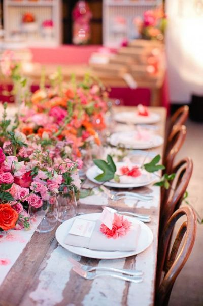 peach flower theme table set up for baby shower