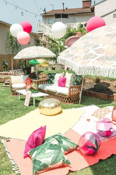 Bohemian decoration baby shower party for outdoor